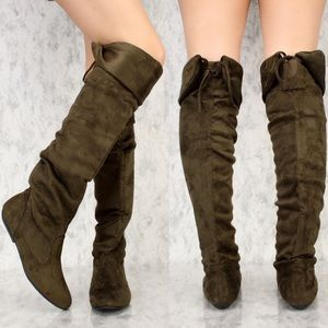 Olive Knee High Boots